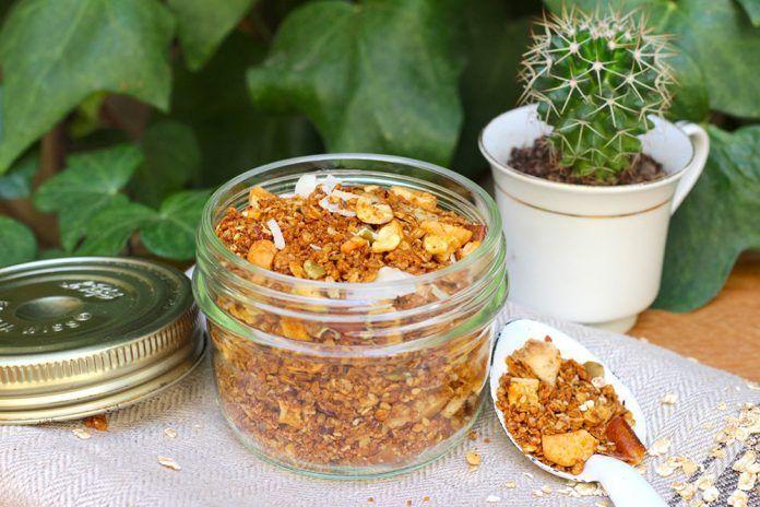 crunchy granola sin gluten vegano