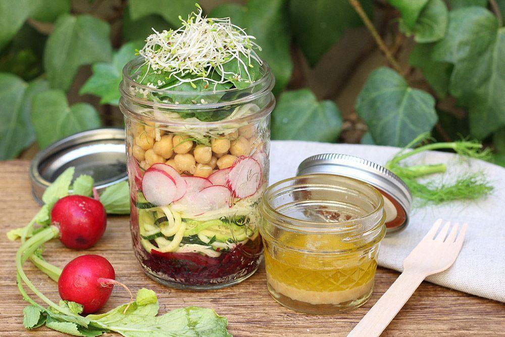 tarro de ensalada detox alimentación receta vegana bueno y vegano