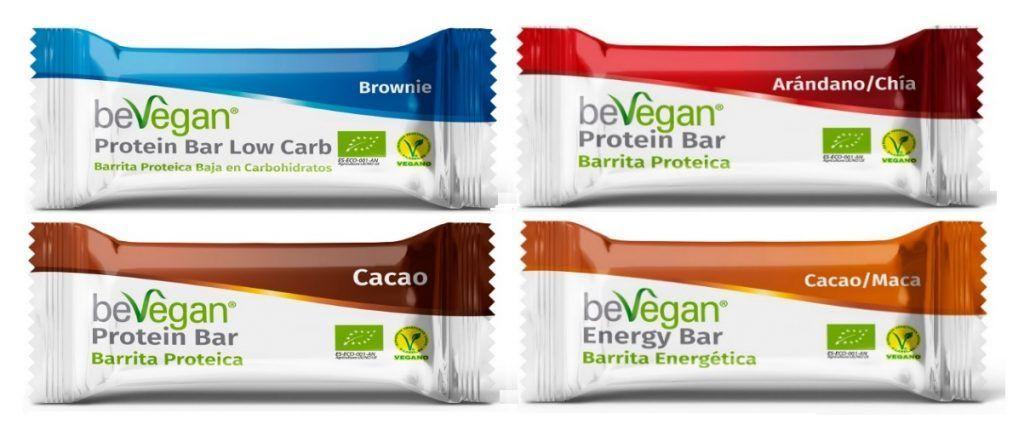 Barritas veganas energéticas y proteicas, de beVegan