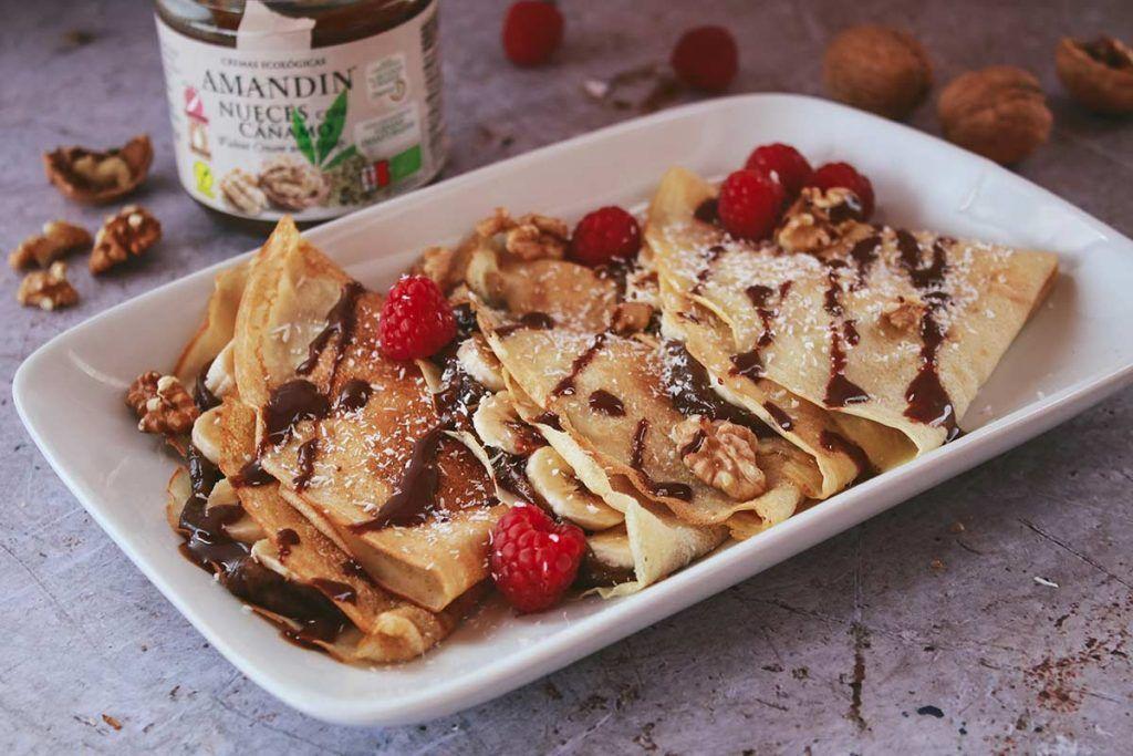 Receta: Crepes veganas con crema de nueces