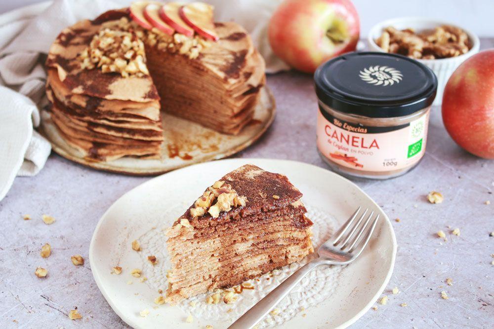 Crepe cake de manzana y canela